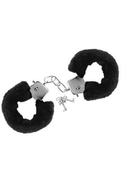 Menottes poignets style fourrure noire