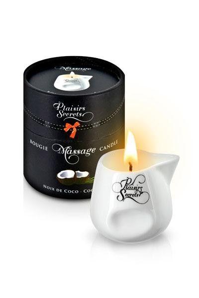 Bougie de massage arôme noix de coco 80g Plaisirs Secrets